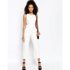 ASOS Denim Wide Leg Cut Out Jumpsuit In White (160 BRL) ❤ liked on Polyvore featuring jumpsuits, asos, wide leg jumpsuit, white wide leg jumpsuit, white cut out jumpsuit and cropped jumpsuit