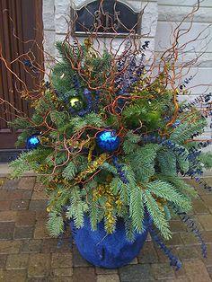 Love this blue holiday planter!  #holidayplanter homechanneltv.com