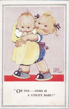 Utility baby - post-war postcard - Mabel  Lucie Attwell