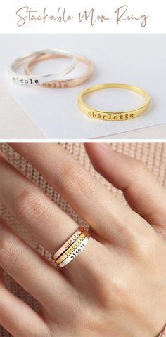 Stackable Name Rings • Personalized Name Ring • Minimalist Ring • Personalized Stacking Ring • Custom Name Ring • Personalized Stackable Rings • Engraved Personalized Ring • Ring With Name • Custom Engraved Ring • Stackable Personalized Rings • Stackable Mother Ring • Stackable Ring Set • Mothers Day Jewelry • Mothers Day Gift • Mothers Day Gift Ideas • Mothers Day Gift For Mom • Mothers Day Ring • Mothers Day Gift Jewelry • Personalized Mothers Day Gifts • Mothers Day Birthstone Ring Mom Ring, Ring Ring, Fashion Accessories, Fashion Jewelry, Etsy Handmade, Handmade Gifts, Name Rings, Mother Rings, Amazing Gifts