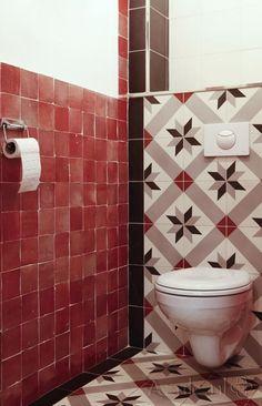 Cementtiles Toilet - Negra 24 - Zellige rouge - Egal Negra S800 - Project van Designtegels.nl