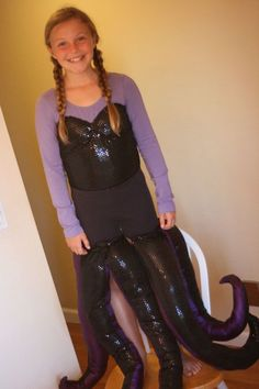 Ursula halloween costume diy sewed fabric onto aleotard made the diy ursula costume caitlyn constancio solutioingenieria Gallery