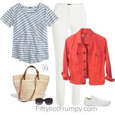 Striped shirt and coral jacket