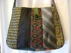 Special Order for Summer - Recycled Necktie Messenger Bag Tie Pillows, Old Ties, Jelly Roll Quilt Patterns, Tie Crafts, Denim Tote Bags, Patchwork Bags, How To Make Handbags, Fabric Bags, Knitted Bags