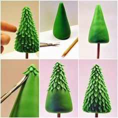 You can easily mould the clay into the shape of a Christmas tree. Then make use of scissors to form leaves as shown here. The pencil can be used as the stem of the tree. Finally, you can place this beautiful DIY Clay Christmas Tree on your study table or work desk.