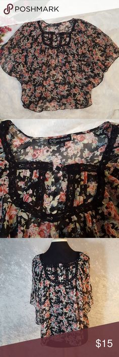 Sheer Floral Size small by My brand. Mesh, light weight, flowly, sheer, batwing top. Floral on a black background with blacl lace work around neckline. Says size small but other sizes can work as well due to the oversized style. Used condition not brand new. Feel free to ask questions or request more photos. I do bundle discounts and accept offers. Check my listings for items that are free with a minimum purchase, just add to a bundle or submit an offer. Thanks for looking and happy poshing…