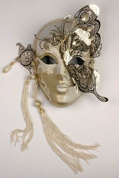 This is a beautiful Mask! - - This is a beautiful Mask! Hand Crafted WALL Art: Masks, Feathers and Hats This is a beautiful Mask! Venitian Mask, Makeup At Home, Venice Mask, Ceramic Mask, Arte Robot, Masquerade Ball, White Masquerade Masks, Mascarade Mask, Cosmetic Items