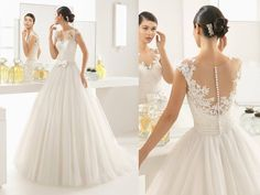 Two by Rosa Clara - Hong Kong - 婚紗 - A romantic princess ball gown with sheer neckline adorned with lace details and ribbon at the waist.