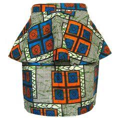 FAIR+true Fair Trade African Print Peplum Skirt ($83) ❤ liked on Polyvore