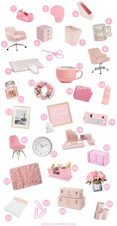 The cutest pink office decor picks for any pink girl boss desk. Create a feminin. - 1001 Stories - The cutest pink office decor picks for any pink girl boss desk. Create a feminine workspace that is - Work Desk Decor, Pink Office Decor, Study Room Decor, Cute Room Decor, Feminine Office Decor, Pink Gold Office, Desk Office, Office Chairs, Rose Gold Rooms