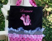 Dance tote with ballet applique and tutu can be personalized