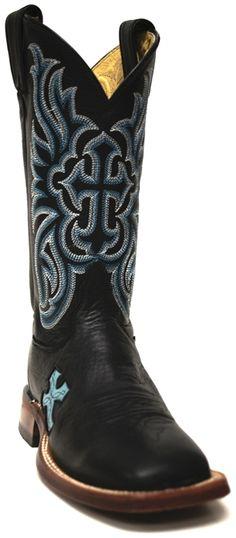 Tony Lama San Saba Black Ol' Buck Cowboy Boot -- We heard you needed something blue? | SouthTexasTack.com