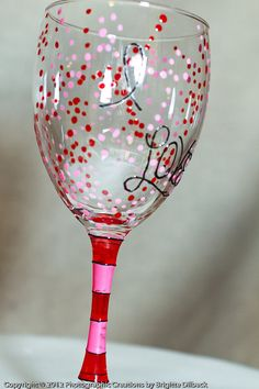 Hand Painted Love Wine Glasses Sold in Pairs by PritzDesigns
