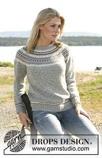 """Valeria - DROPS jumper in """"Alpaca"""" with round yoke and multi coloured pattern. Long or short sleeves. - Free pattern by DROPS Design Fair Isle Knitting Patterns, Fair Isle Pattern, Sweater Knitting Patterns, Knitting Stitches, Knitting Designs, Knit Patterns, Free Knitting, Drops Design, Pull Jacquard"""
