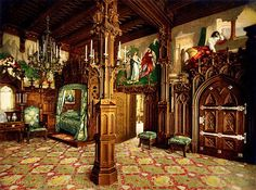 Interiors: Bedroom in Neuschwanstein Castle, Bavaria, Germany, Castle Bedroom, Castle Rooms, Germany Castles, Neuschwanstein Castle, Famous Castles, Ancient Buildings, Fantasy Castle, Ludwig, Beautiful Castles