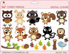 woodland clipart digital clip art owl hedgehog by DigitalBakeShop, $5.00