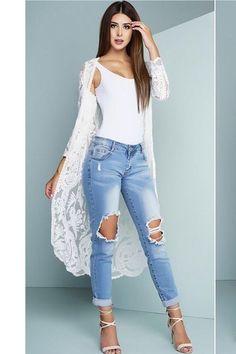 Mia White Lace Long Cardigan