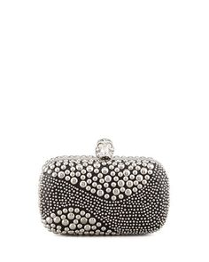 Classic Studded Skull-Clasp Clutch Bag, Black/Silver by Alexander McQueen at Bergdorf Goodman.