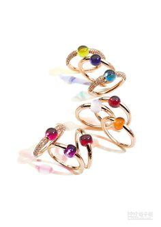 Pomellato M'ama Non M'ama及Sabbia系列戒指,售價4萬8000元至9萬1700元。(Pomellato提供)
