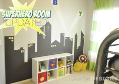 sugartotdesigns: Superhero Bins {Tutorial and Printable}Templates for superhero decals.  I like the walls - simple, not quite so dark - think the boys would love this