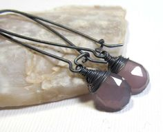 Oxidized Sterling Silver Earrings with Lavender by earringexchange, $26.00