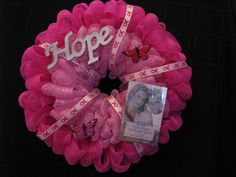 Breast Cancer Awareness Wreath by SparklesforHope on Etsy, $75.00