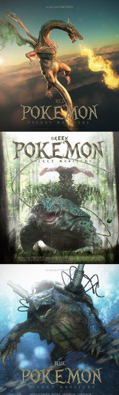 Pokemon hiperrealistas. Imágenes creadas por el artista Yuuki Morita.