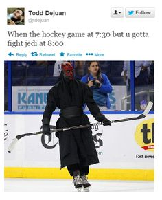 Being a hockey fan and uber star wars fane thats great LOL Dark Maul, Hockey Memes, Sports Memes, Funny Hockey, Hockey Goalie, Nfl Sports, Indiana Jones, Nhl, Sherlock