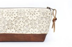 Items similar to Linen and Lace Clutch. Leather Clutch. Brown Leather Bag. Makeup Bag. Travel Bag. Zippered Pouch. Bridesmaid Clutch. Rustic Wedding. Handbag on Etsy