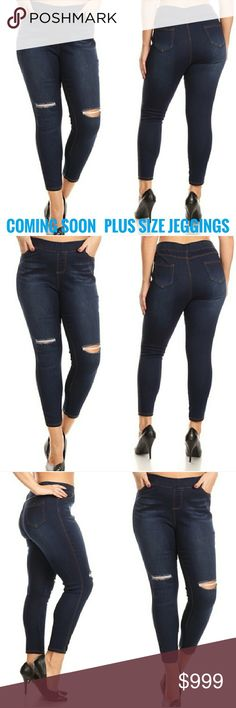 COMING SOON PLUS SIZE JEGGINGS Made of cotton, polyester, and spandex   Distressed high waisted jeggings Elastic waistband and pockets  Styled rips at the knees The Chic Petunia Pants