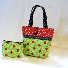 Little Girls Purse Coin Purse Set Ladybugs Fabric Mini Tote Bag Childs Purse Kids Bag Red Black Lime Green Handmade MTO