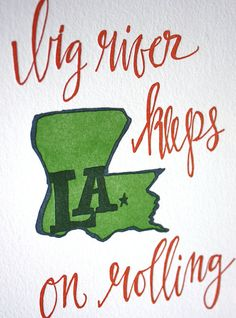 Louisiana Letterpress Print by 1canoe2 on Etsy, $15.00