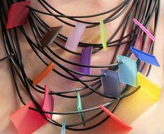colored rubber necklace by Lydia Bremer