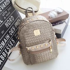 41f9c817196 2016 High PU Leather Women Backpack with Knitting Rivet Japan Korean Style  Rucksack Teenager Girl Hand