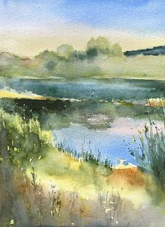 Watercolor Scenery, Watercolor Architecture, Watercolor Water, Watercolor Sketchbook, Watercolor Painting Techniques, Watercolor Pictures, Watercolor Landscape Paintings, Landscape Drawings, Watercolor Artwork