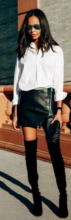Black Leather Zip Mini Skirt and thigh high suede boots