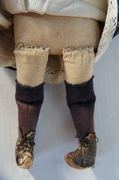 """Antique pencil face cloth doll blue calico dress and bonnet 16"""""""