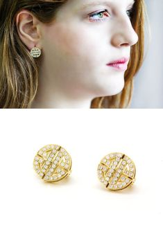 Round 14k Gold wedding earrings with white by LeybmanJewelry