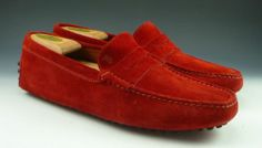 TOD'S sz 7 GOMMINI SUEDE DRIVING MOCCASIN MENS RED fits US 7 $249 MADE IN ITALY #distinctivedeals