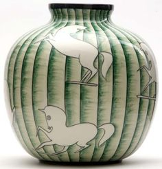 GIO PONTI / RICHARD GINORI Faience vase with prancing horses on green ribbed ground. Stamped RICHARD-GINORI S.CRISTOFORO MILANO