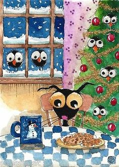 ACEO Original Watercolor Art Christmas Stressie Cat Crow Milk Cookies Tree Snow | eBay