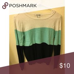 Colorblock sweater Teal, navy blue, and white color block sweater Forever 21 Sweaters Crew & Scoop Necks