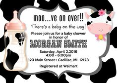 This cute and fun country theme invitation features a black and white cow straight from the farm to invite  your guests in a humorous way to your baby shower event.