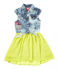 This Lemon Hello Kitty Chambray Dress - Girls is perfect! #zulilyfinds