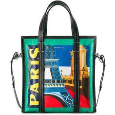 Balenciaga Bazar Paris Shopper S ($1,950) ❤ liked on Polyvore featuring bags, handbags, tote bags, green, leather totes, handbags totes, leather tote handbags, leather tote bags and leather zip tote
