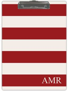 Personalized Deep Red and Cream Stripe Clipboard