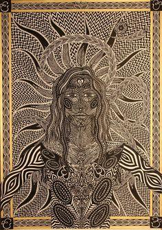 Ten*  Perokresba A1, černá tuš, barva zlatá KOH-I-NOOR,  Autor: Johana Hájková