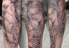 Guardian Angel Tattoos for Men On Arms | 25 Marvelous Guardian Angel Tattoos For Men | CreativeFan