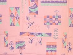 Vtg AAA Associated American Artists Fabric Staff of Life Gabor Peterdi 1953 2+yd