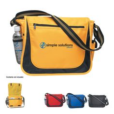 600 denier polyester messenger bag with matching striped handle and adjustable shoulder strap. Two side pockets for water bottle and cell phone, outside zippered pocket with Velcro (R) closure. Spot clean/air dry.